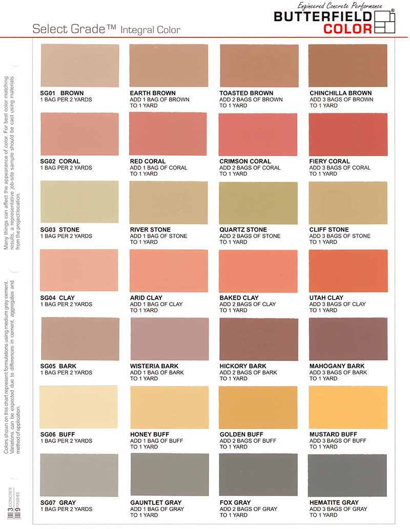Colour charts con spec industries butterfield select grade oxide colour chart geenschuldenfo Images